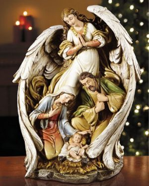 Hark the herald angel with the holy family figurine