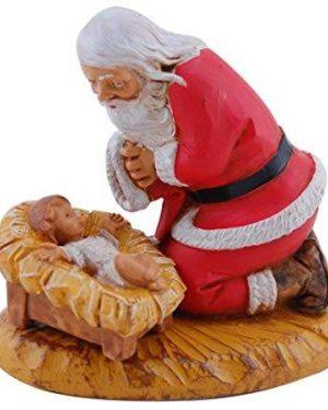 Kneeling Santa with Baby Jesus Figurine