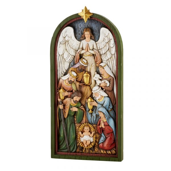 Nativity Scene Plaque Baby Jesus surrounded