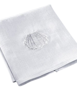 Baptismal Napkin with Shell Embroidery