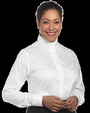Woman wearing long sleeve white clergy shirt