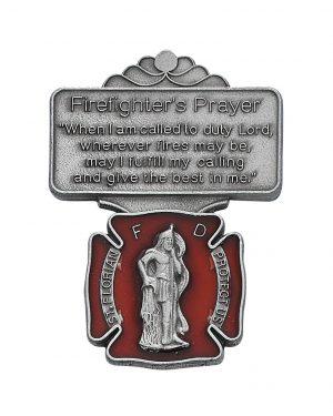 Firefighter Red Visor Clip with Prayer
